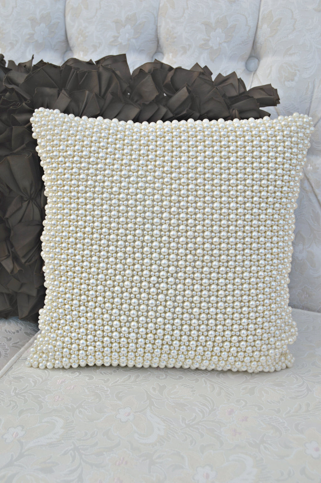 Pearl beaded pillow
