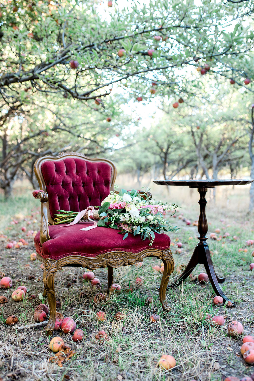 Vintage red velvet chair in apple orchard