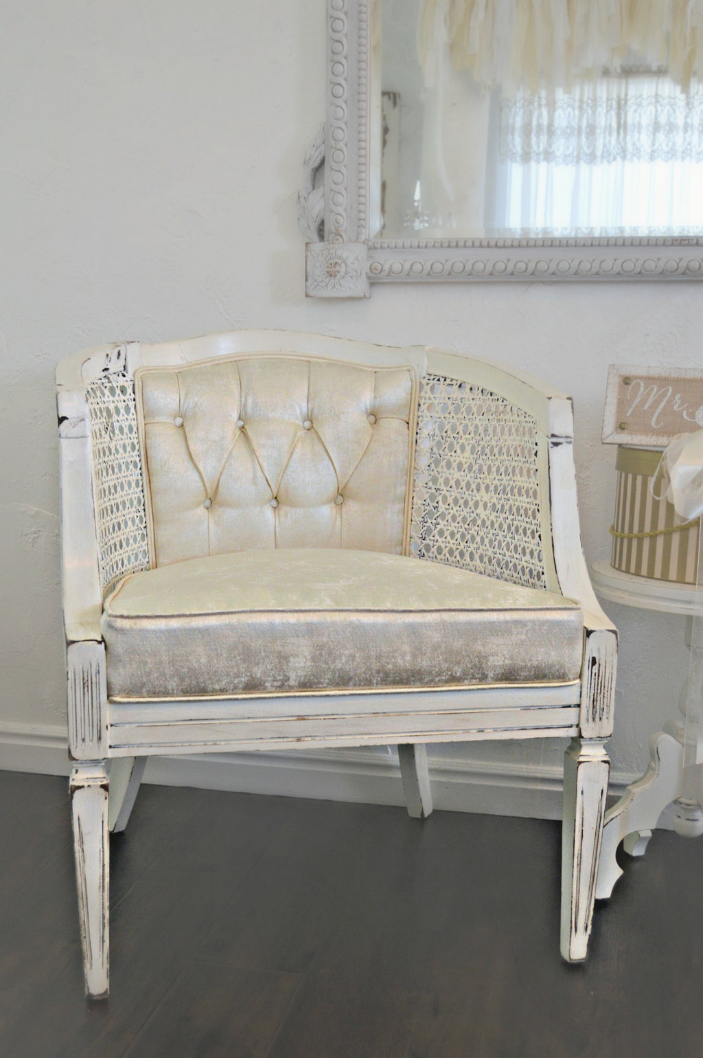 Cream silk tufted chairs