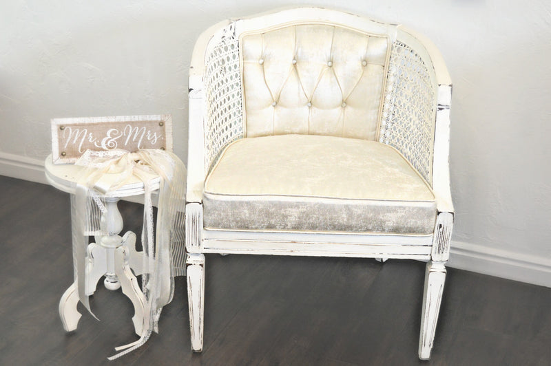 Vintage cream silk chair
