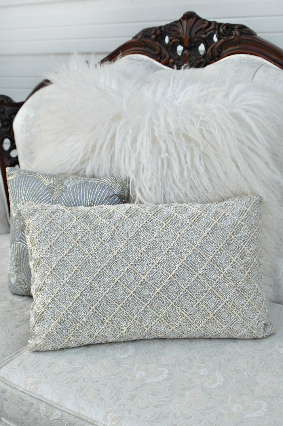 Silver beaded pillow