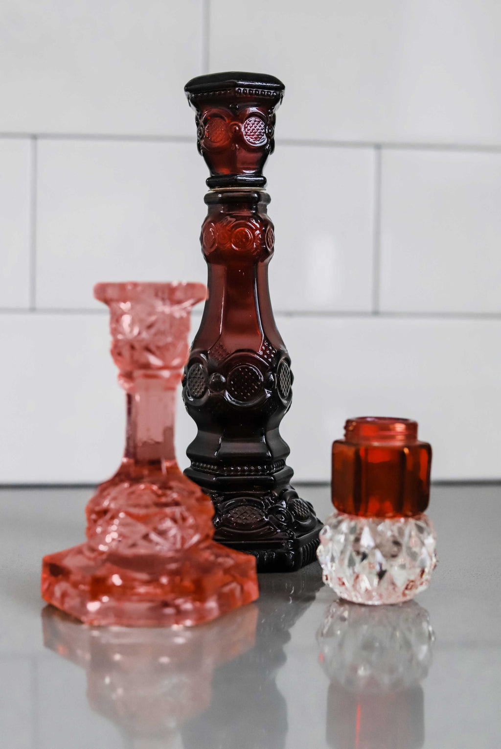 """Red"" Candlestick Holders 
