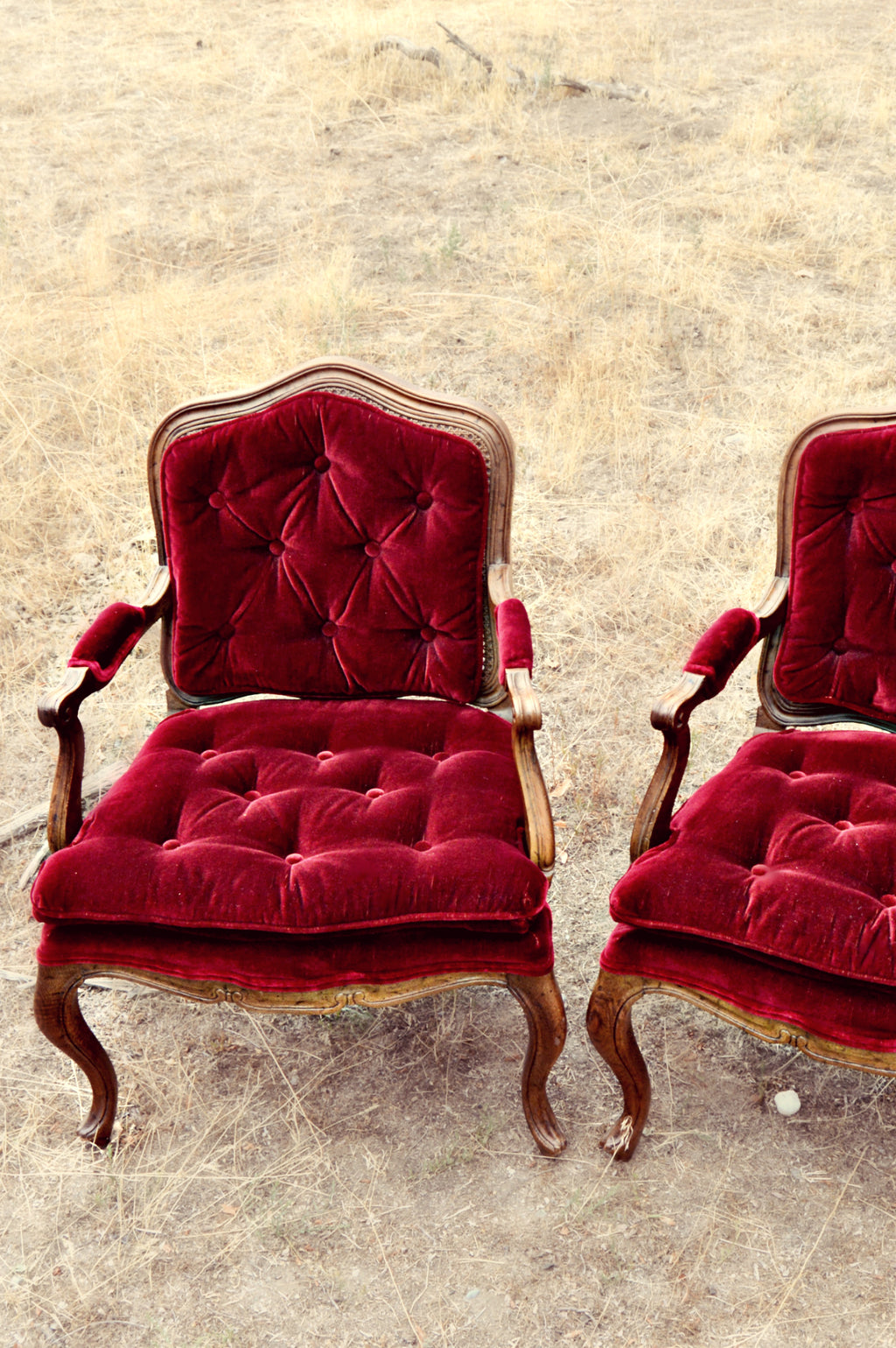 Red velvet tufted chairs