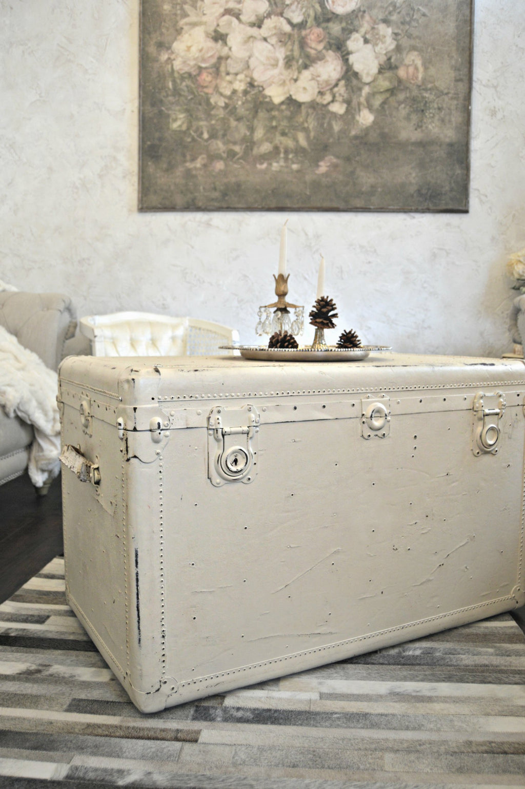 Cream vintage trunk as coffee table