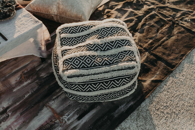 Black & white Moroccan pouf