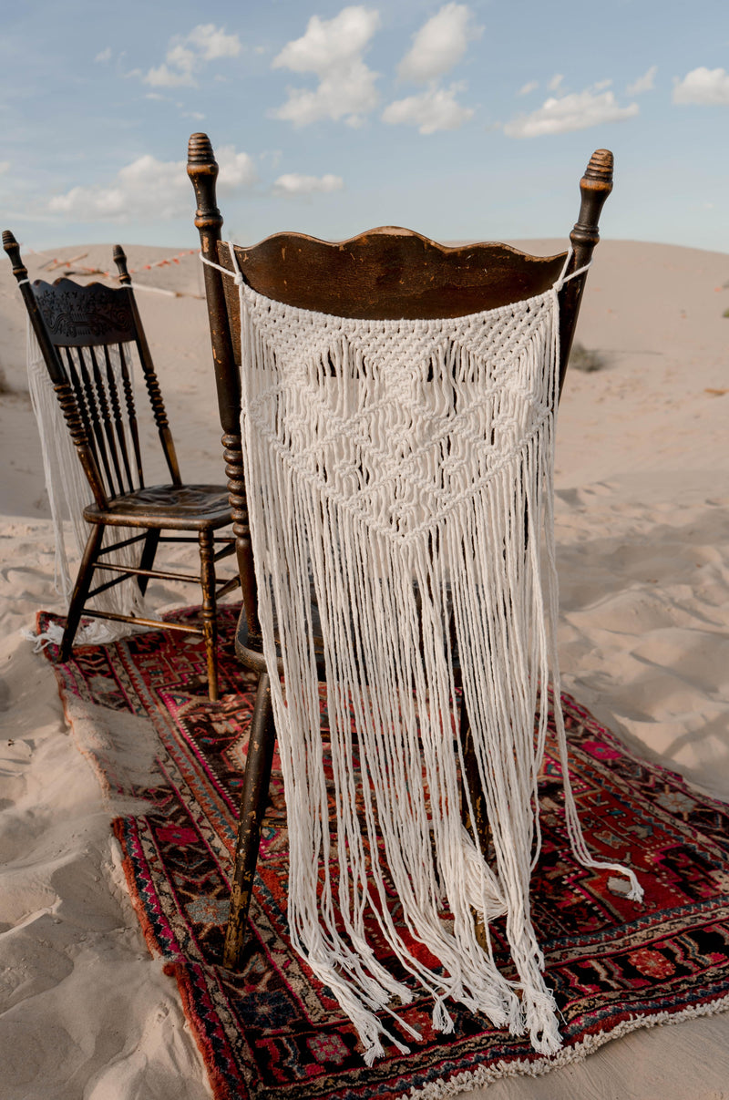 """Kiss on My List"" Macrame Chair Backs 