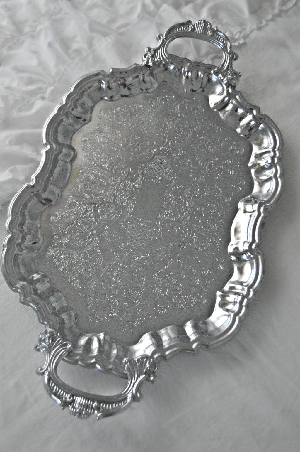 Ornate silver vintage serving trays
