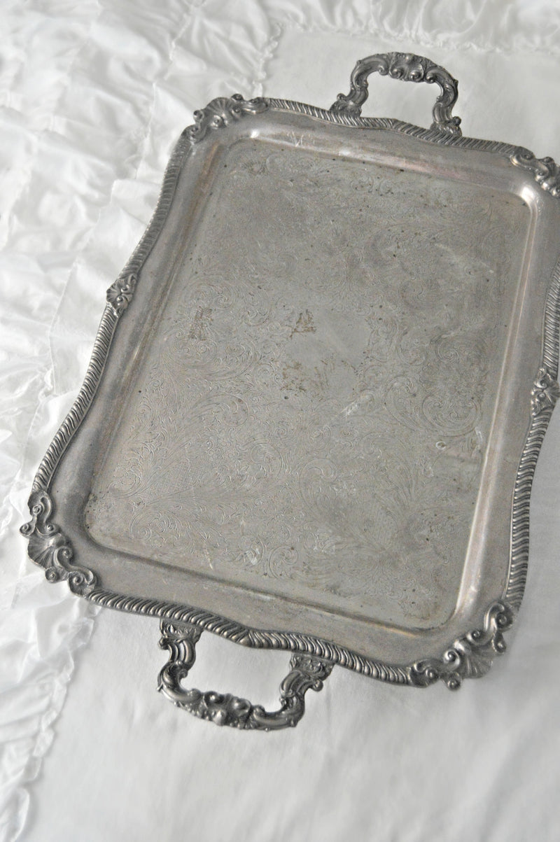 Vintage silver serving tray with handles