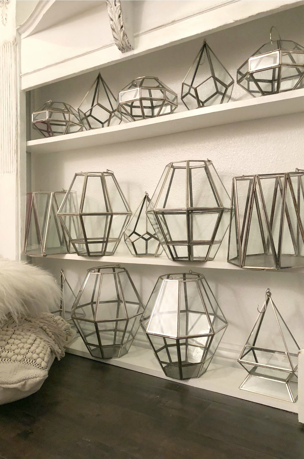 Set of silver geometric terrariums