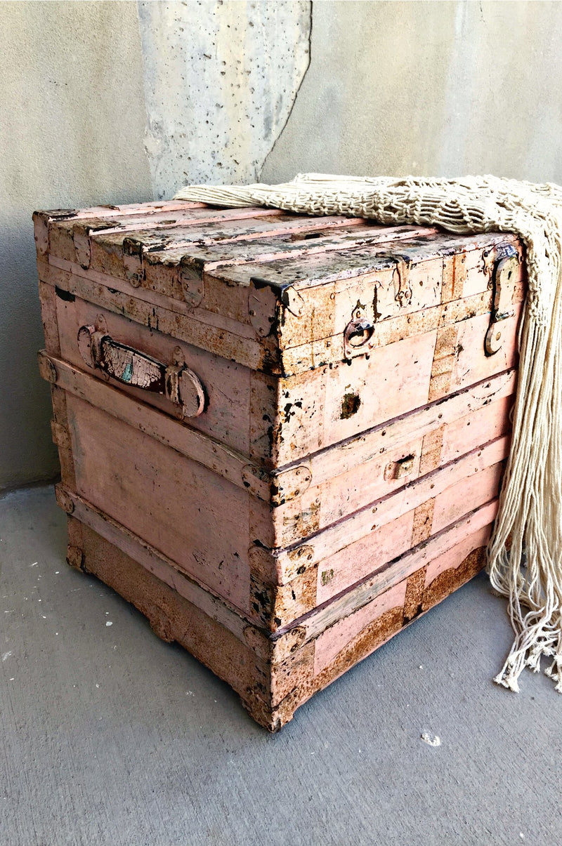 Antique pink steam trunk