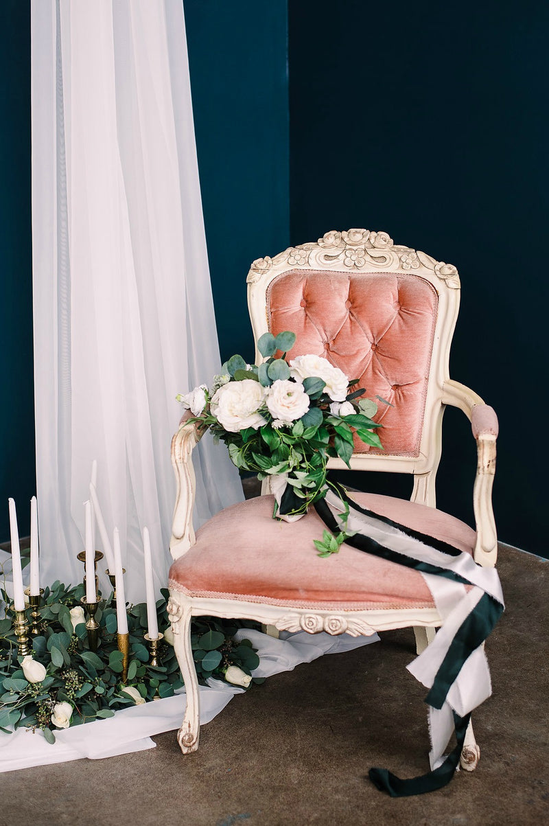 Pink velvet French chair photo shoot