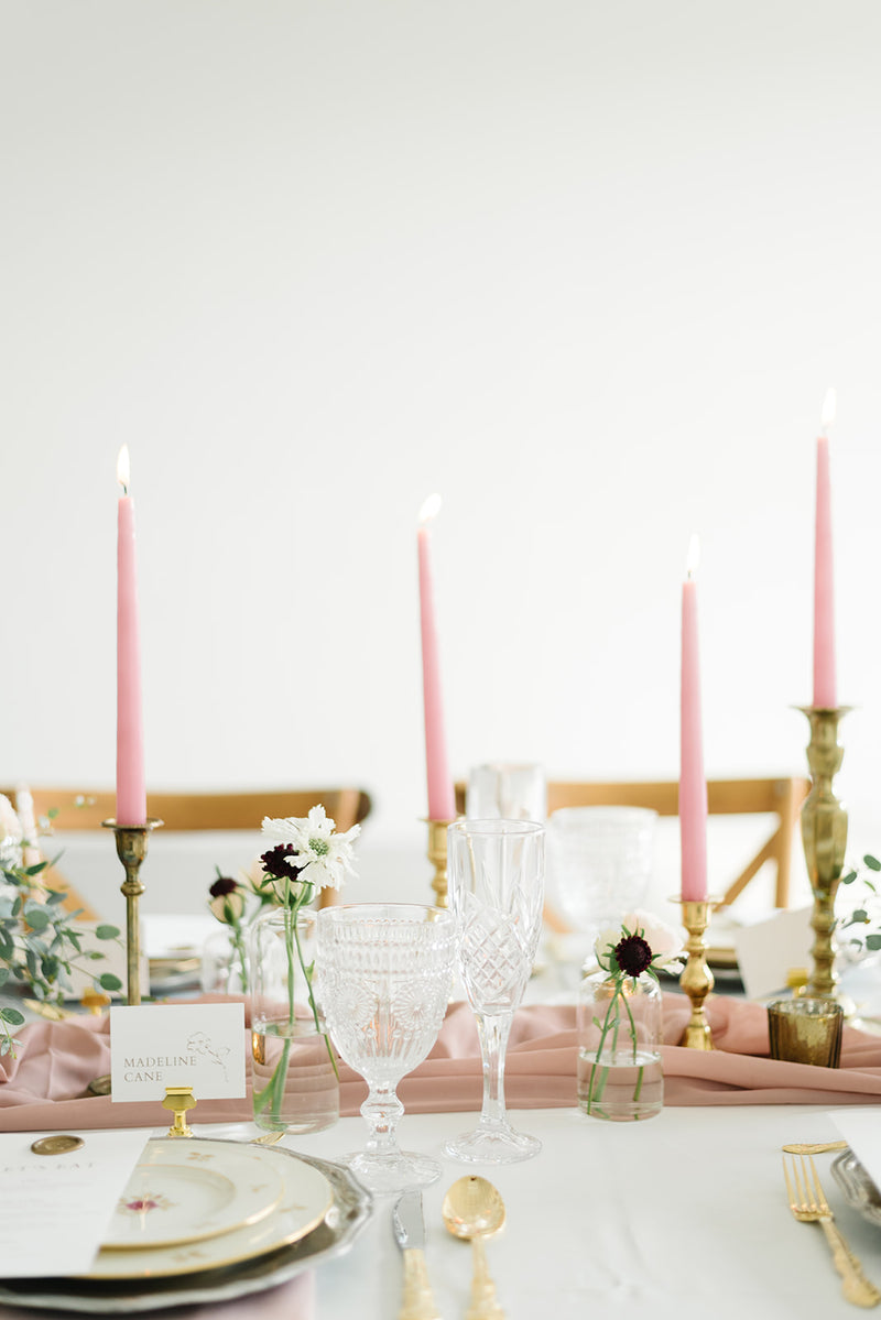 """Sweet Pea"" Brass Candlestick Holders 