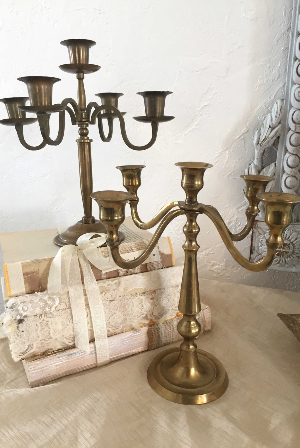 """Sweet Pea"" Brass Candelabra 