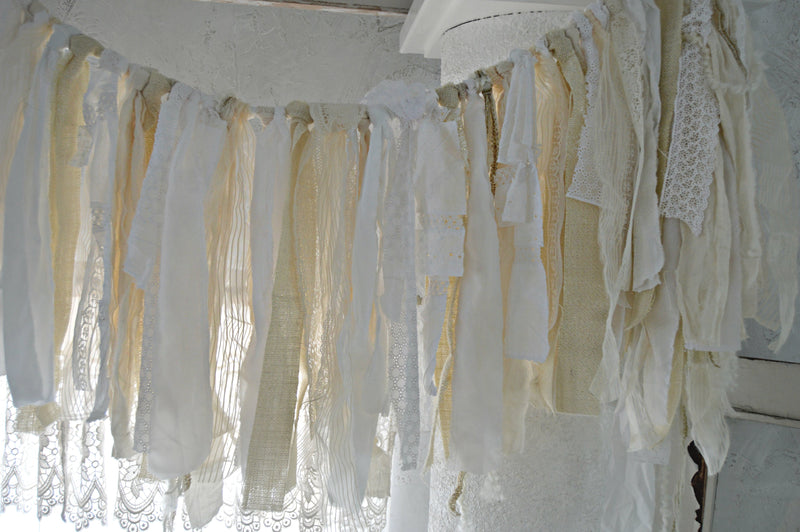 Neutral colored shabby chic fabric garland