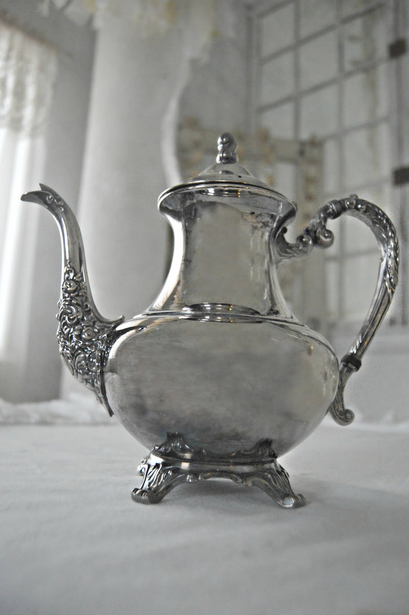 Decorative silver teapot