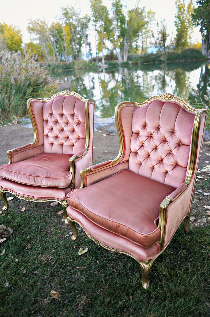 Glam pink velvet chairs