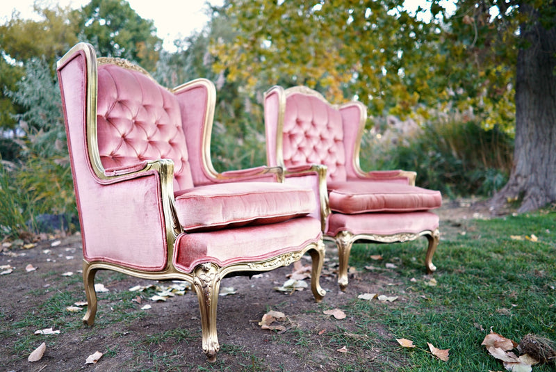 Pink velvet tufted chairs
