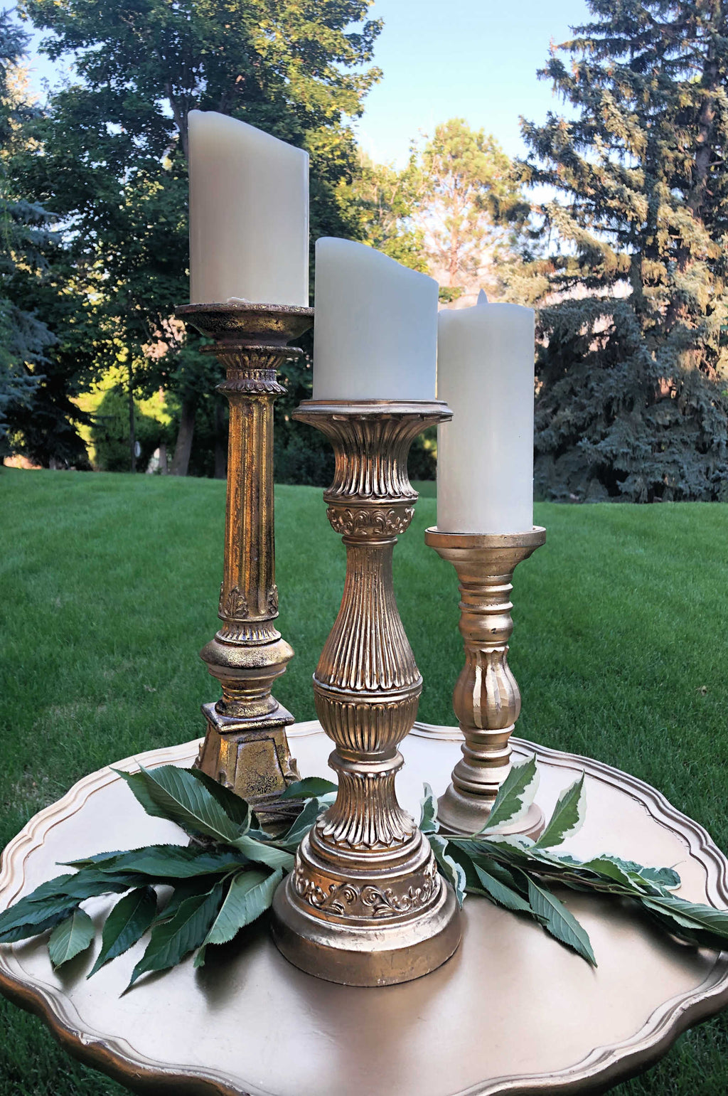 """Three Little Words"" Gold Candlestick Holder Sets"