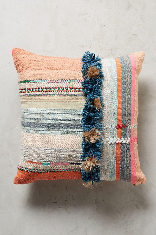 Multi colored boho pillow with fringe