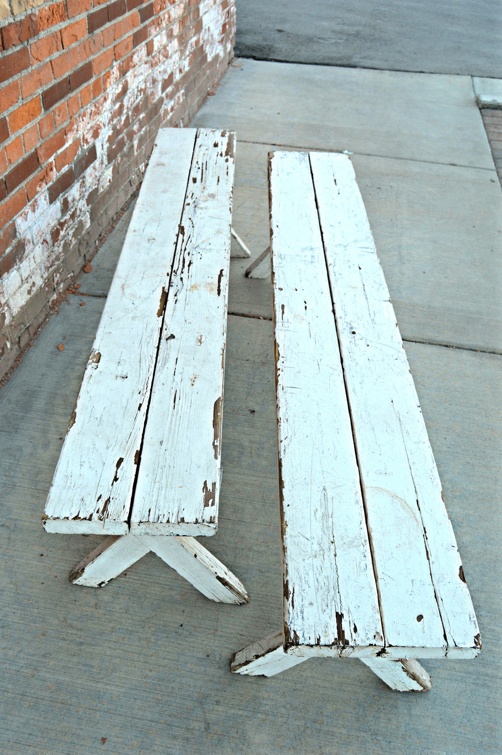 Antique white benches