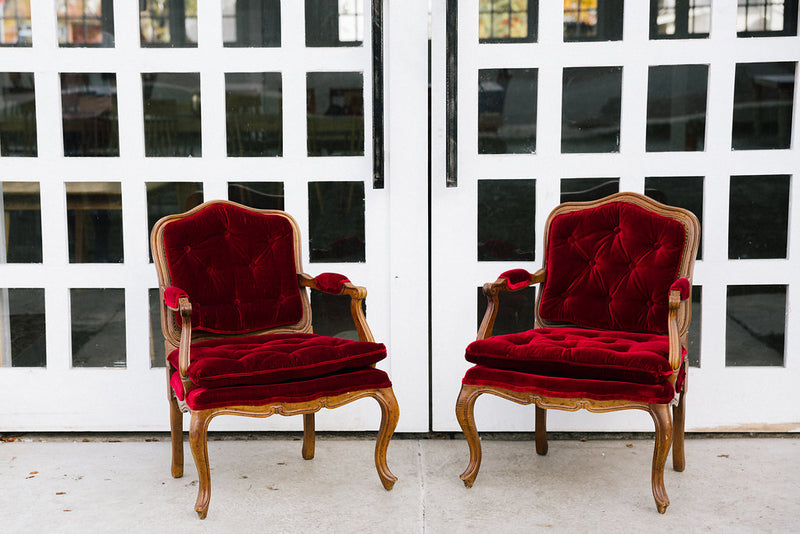 Vintage red velvet chairs