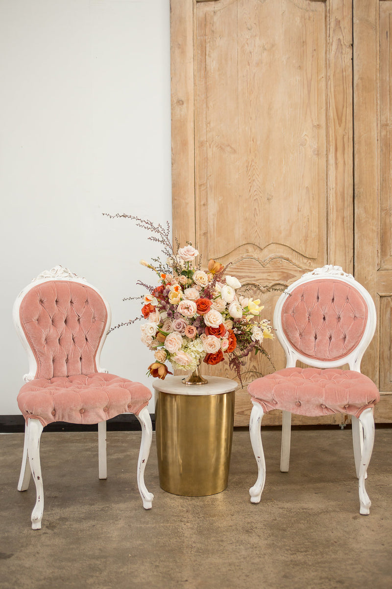 Pink velvet French chairs