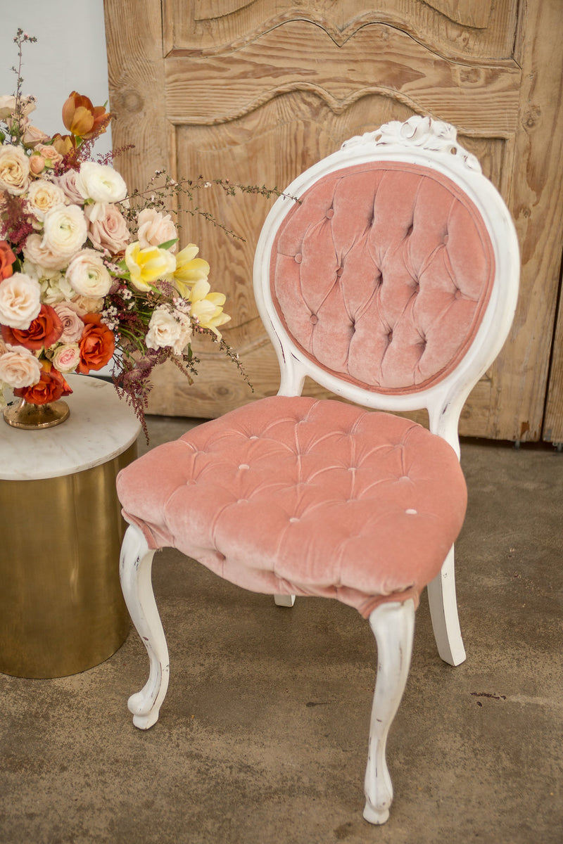 Pink velvet French chair with cabriole legs