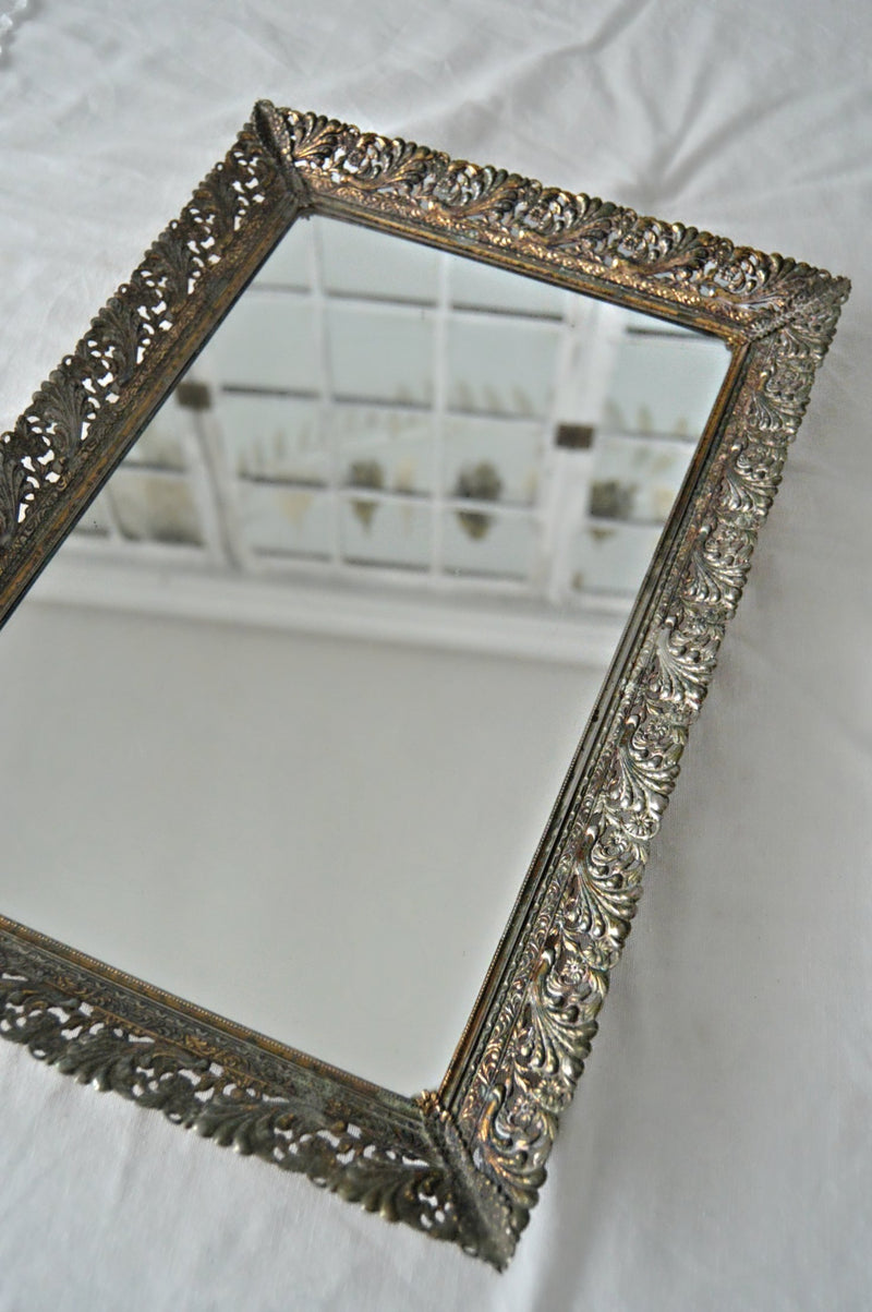Rectangle mirror antique tray