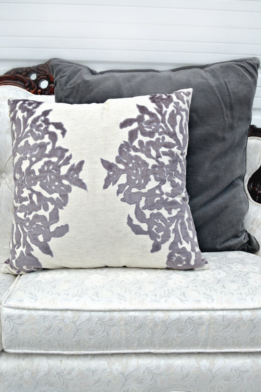 Purple velvet decorative pillow