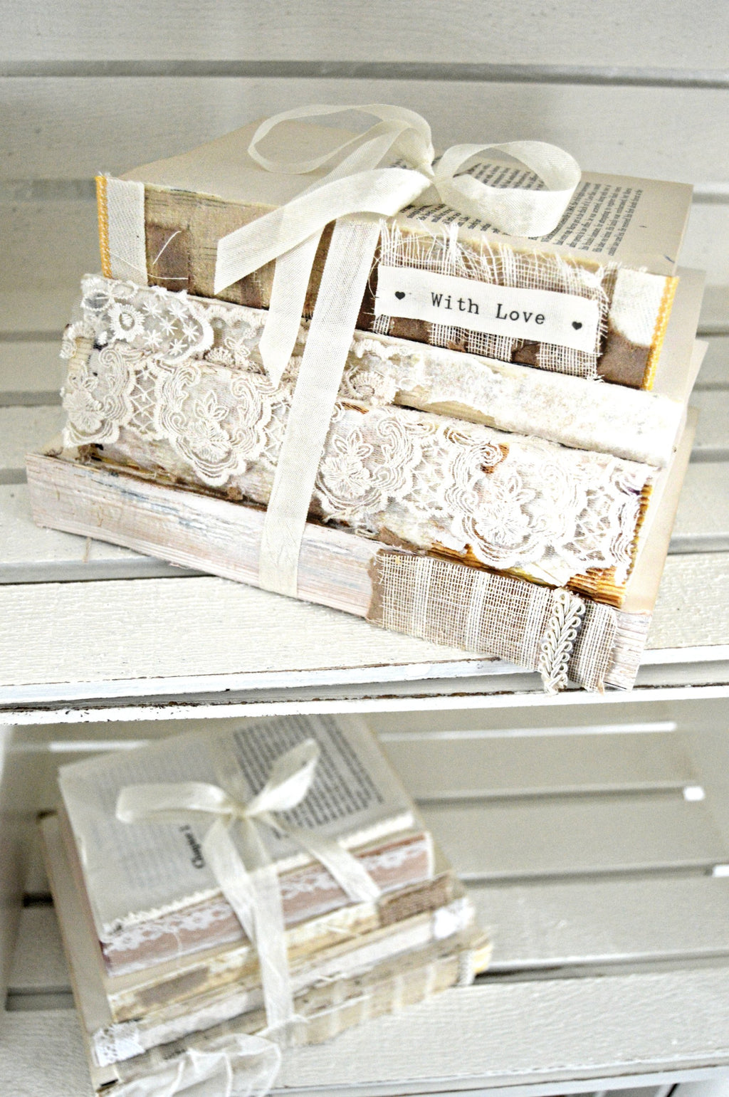 Vintage books bundled together for wedding centerpieces