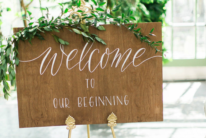 """Welcome to our Beginning"" wooden wedding sign"