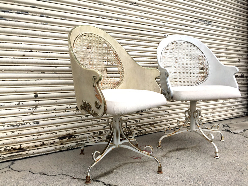 Cream and white vintage swivel chairs