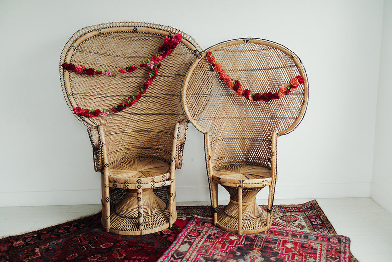 Bohemian wicker fan back peacock chairs