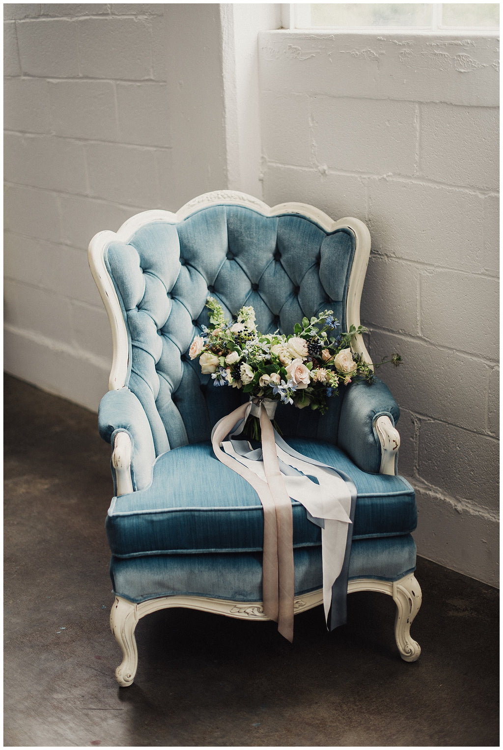 Blue velvet scalloped back vintage chair