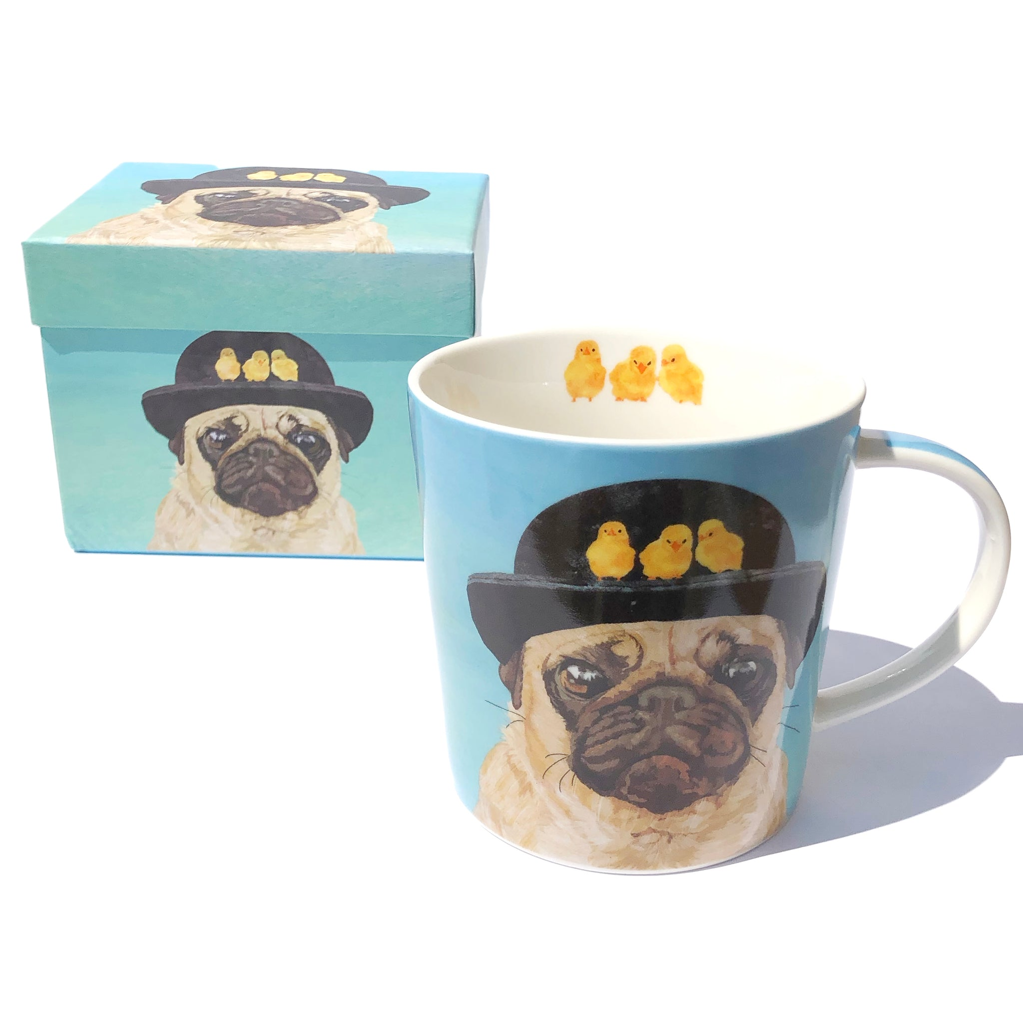 Pug in a Bowler Hat Mug with Box