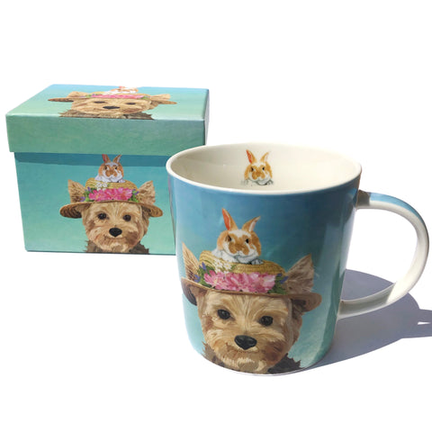 Yorkie in a Hat + Bunny Mug with Box