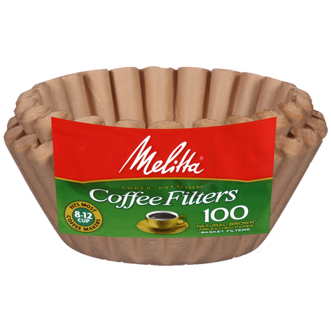 Melitta 8-12 Cup Basket Filter Paper Natural Brown - 100 Count