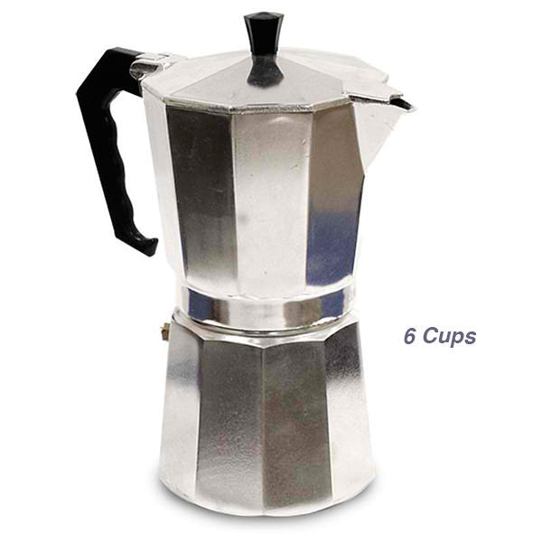 Italian Aluminum Espresso Coffee Maker 6 Cups