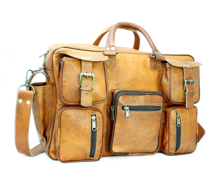 7 Pocket Vintage Style Leather Laptop Bags