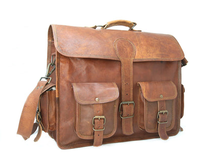 Four Pocket Vintage Style Dark Brown Leather Laptop Bag