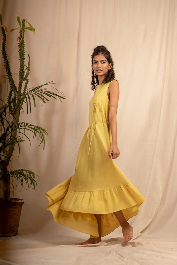 Sui | AMARANTA hand-embroidered, herbally-dyed organic cotton khadi asymmetrical maxi dress from Granita Summer Collection 2019