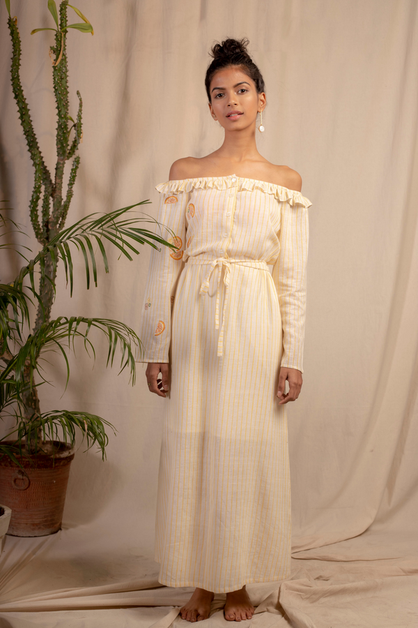 Sui | DOLCE VITA embroidered organic cotton khadi off-shoulder maxi dress with a cinched waist from Granita Summer Collection 2019