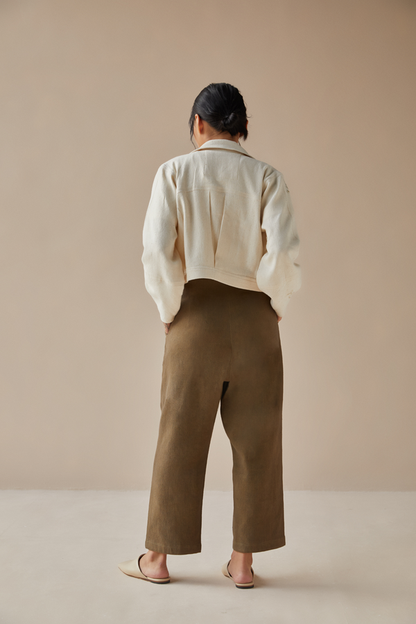 Evergreen handwoven organic cotton trousers