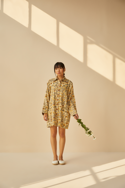 Field of Sunflowers handwoven organic cotton jacket