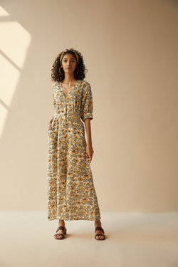 Field of Sunflowers handwoven organic cotton maxi dress