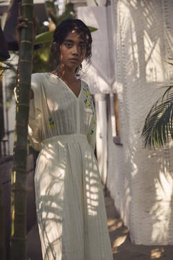 Sui | LIMONE naturally dyed, embroidered handwoven organic cotton maxi dress from Granita Summer Collection 2019