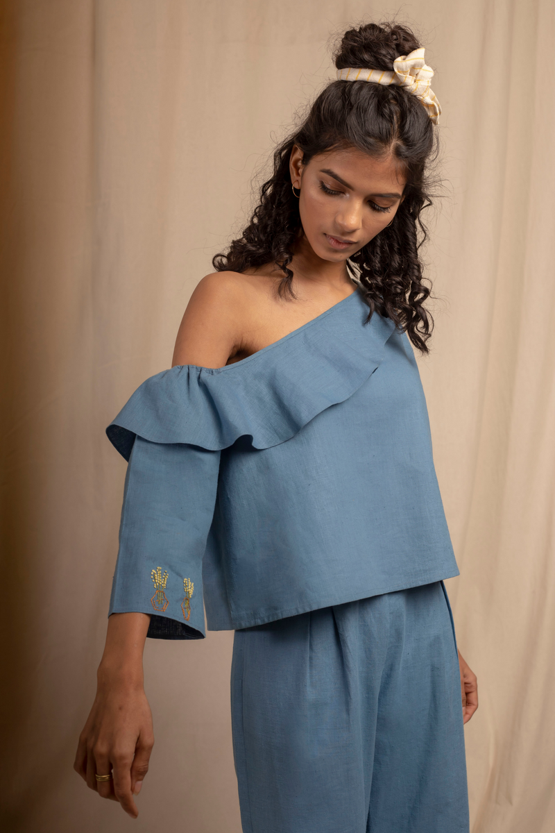 Sui | MARE BLU hand-embroidered, herbal-dyed hemp one-shoulder top from Granita Summer Collection 2019