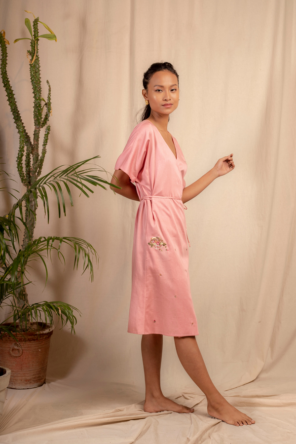 Sui | MARGHERITA embroidered, herbal-dyed organic cotton wrap dress from Granita Summer Collection 2019