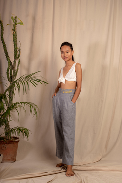 Sui | MARINA embroidered hemp denim casual trousers from Granita Summer Collection 2019