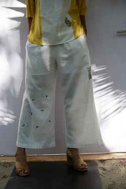 Sui | OLIVE ME embroidered organic cotton khadi casual trousers from Granita Summer Collection 2019